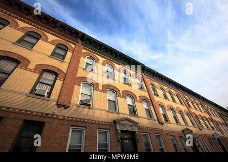 exterior of apartment buildings in Astoria, Queens, New York City - Stock Photo