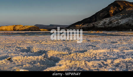 Panorama of Crater salt lake Assal in Djibouti - Stock Photo