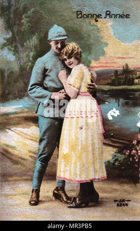 French Happy New Year, postcard depicting a soldier and a young woman, Lovers or a couple. circa 1900 - Stock Photo