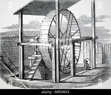 Engraving depicting a wheel used for raising water using dog power. Dated 19th century - Stock Photo