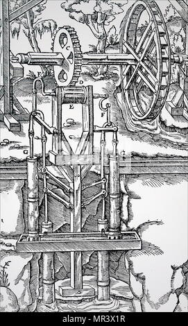 Engraving depicting multiple suction pumps, powered by an overshot water wheel through a toothed wheel and drum (C,D,E), being used to raise water from a mine. Dated 16th century - Stock Photo