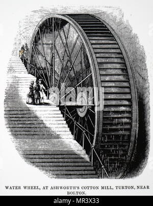Engraving depicting a water wheel used to drive the machinery at Ashworth's cotton mill, Turton, near Bolton, Lancashire. Dated 19th century - Stock Photo