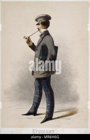 Illustration depicting a French student smoking a pipe 1850 - Stock Photo