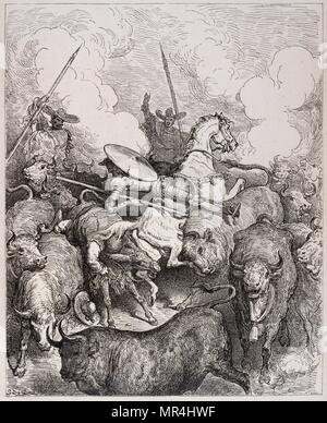 Drawing depicting Don Quixote' the Spanish literary hero with Sancho Panza by Gustav Dore. 1875 - Stock Photo