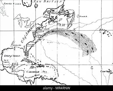 Map depicting a section of the Atlantic Ocean showing the Gulf Stream. The Gulf Stream, together with its northern extension the North Atlantic Drift, is a warm and swift Atlantic ocean current that originates in the Gulf of Mexico and stretches to the tip of Florida, and follows the eastern coastlines of the United States and Newfoundland before crossing the Atlantic Ocean. Dated 18th century - Stock Photo