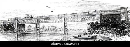 Engraving depicting a lattice girder bridge located on the River Wye, in Whitney-on-Wye, Hereford. Dated 19th century - Stock Photo
