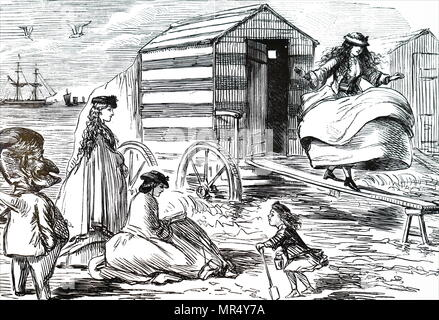 Cartoon depicting a group of sisters enjoying their day at the beach. Illustrated by John Leech (1817-1864) an English caricaturist and illustrator. Dated 19th century - Stock Photo