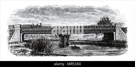 Engraving depicting a lattice girder bridge which forms part of the Mangotsfield branch of the Midland Railway. Dated 19th century - Stock Photo