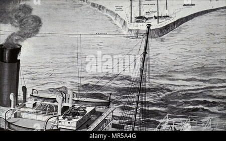 Illustration used to explain how radio communication between ships works. In the background is a shore station such as the Marconi one at Poldhu, Cornwall. Dated 20th century - Stock Photo