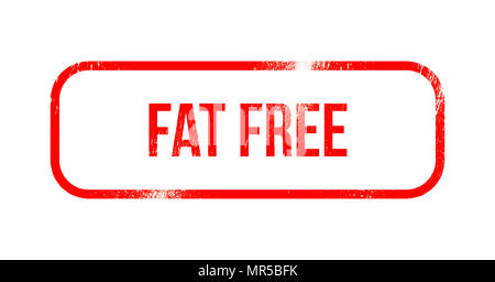 fat free - red grunge rubber, stamp - Stock Photo