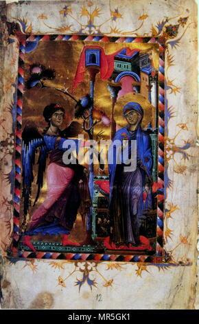 Annunciation scene illustrated in an illuminated 13th century, Armenian manuscript, from Matenadaran, Yerevan, Armenia - Stock Photo