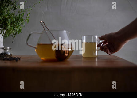 Morning tea being prepared on a butcher block countertop with oregano plant in the background. - Stock Photo