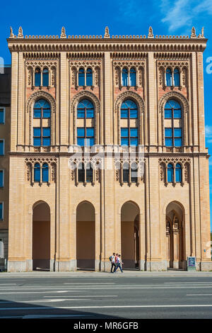 Building of the government of Upper Bavaria, west facade, terracotta façade in neo-Gothic, so-called Maximilian style, Old Town - Stock Photo