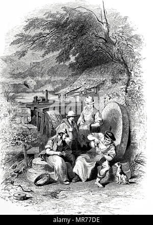 Engraving depicting workmen from the outskirts of Sheffield taking their lunch break. Behind them is the water wheel which powered the grindstones at which they worked, while learning against the wall and being used as seats are grindstones of various sizes. Dated 19th century - Stock Photo