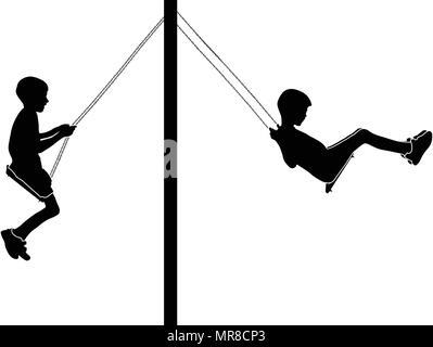 Boy swinging on a swing - Stock Photo