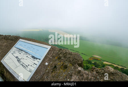 East Lothian, Scotland, United Kingdom, 26th May 2018. The sun struggling to break through the haar, misting the countryside views. The agricultural farmland is beginning to turn green with the early signs of crop. A very misty view from the top of Victorian Hopetoun hilltop tower, an East Lothian landmark - Stock Photo