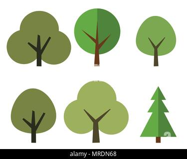 A set of trees in the style of flat design - vector - Stock Photo