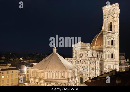 Battistero di San Giovanni, Cattedrale di Santa Maria del Fiore, Cupola del Brunelleachi, Campanile di Giotto, Florence, Tuscany, Italy, Europe, - Stock Photo