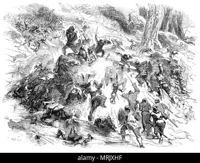 In 1164 all the Welsh princes united with Rhys ap Gruffydd in an uprising against King Henry II following the murder of his nephew, Einion ab Anarawd, who was the captain of his bodyguard, at the instigation of Roger de Clare, Earl of Hertford. Rhys first appealed to the king to intercede; when this failed, he invaded Ceredigion and recaptured all of it apart from the town and castle of Cardigan. In 1165. Henry invades Wales again attacked Gwynedd first, but instead of following the usual invasion route along the north coast he attacked from the south, following a route over the Berwyn hills.  - Stock Photo