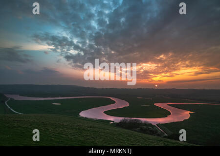Sunset over the river cuckmere - Stock Photo
