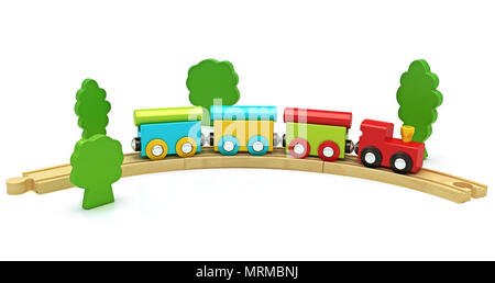 Wooden toy train isolated on a white background ,300 D.P.I - Stock Photo