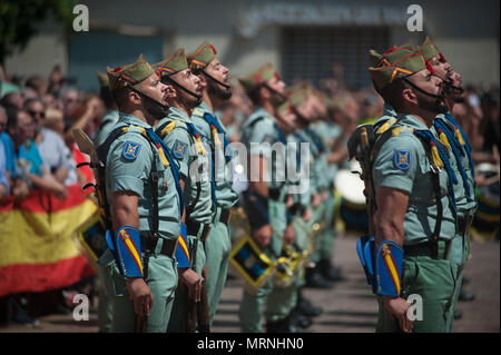 Malaga, Spain. 27th May, 2018. Spanish legionnaires stand as they take part in a parade to commemorates the Armed Forces Day, which its celebrated every 26 may in Spain.The Spanish Arm Forces Day is being celebrated in the City of Malaga with members of the arm forces paraded in the city center. Credit: Jesus Merida/SOPA Images/ZUMA Wire/Alamy Live News - Stock Photo