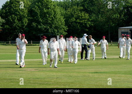 Village cricket at Wellesbourne, Warwickshire, England, UK. Players leaving the pitch after the match. - Stock Photo