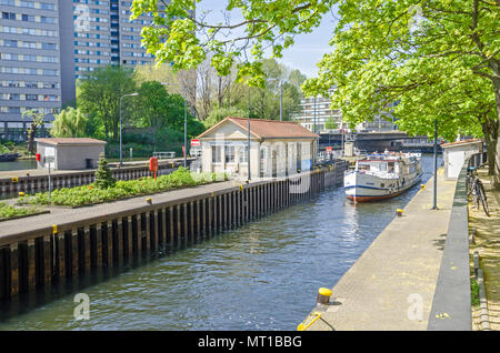 Multi-chamber Muehlendamm locks in the central Mitte district of Berlin making the river Spree navigable, wich is under the protection order - Stock Photo