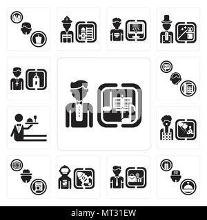 Set Of 13 simple editable icons such as Director, Concierge, Businessman, Spaceman, Detective, Clown, Waiter, Support, Priest can be used for mobile,  - Stock Photo