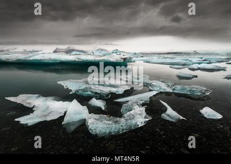 Famous Jökulsárlón glacier lagoon. - Stock Photo