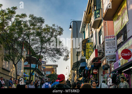 San Jose, Costa Rica. February 2, 2018. A busy pedestrian street in the downtown core of San Jose, Costa Rica. - Stock Photo