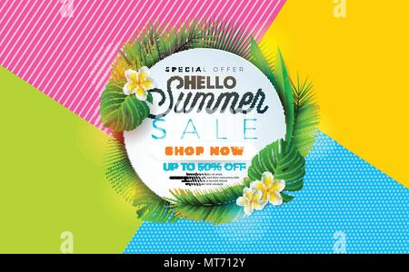 Summer Sale illustration with flower and tropical plant on abstract color background. Vector banner design template for coupon, banner, voucher or promotional poster. - Stock Photo
