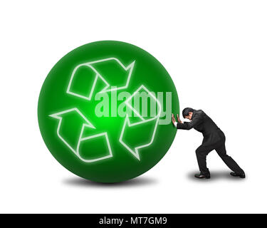 businessman rolling large green ball with recycle symbol on it isolated in white background - Stock Photo