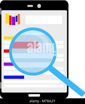 Internet page opened on a tablet and is scrutinized carefully - Stock Photo