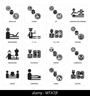 Set Of 16 simple editable icons such as Doctor, Nurse, carpenter, mover, Lumberjack, Detective, Programmer, Dressmaker, Engineer can be used for mobil - Stock Photo