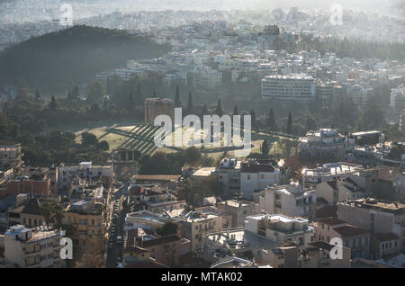Temple of Olympian Zeus view from Acropolis Hill, Athens, Greece - Stock Photo