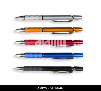 Set of colored pens isolated on white background. Top view - Stock Photo