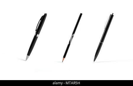 Set of black pens and pencil on white background - Stock Photo
