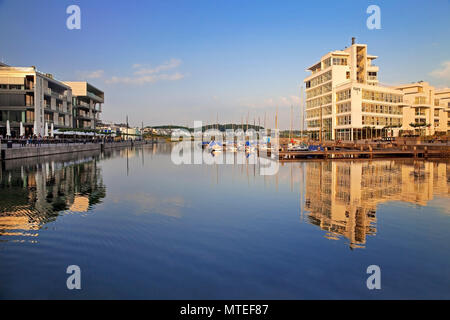 New buildings on Lake Phoenix, Dortmund, North Rhine-Westphalia, Germany - Stock Photo