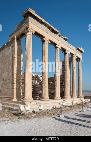 Southeast view of the Erechtheion, an acient greek temple on the north sideo of the Acropolis in Athens, Greece. The temple was dedicated to both Athe - Stock Photo