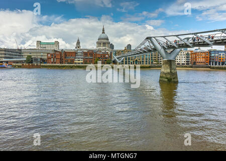 Amazing view of St. Paul's Cathedral from Thames river, London, England, Great Britain - Stock Photo