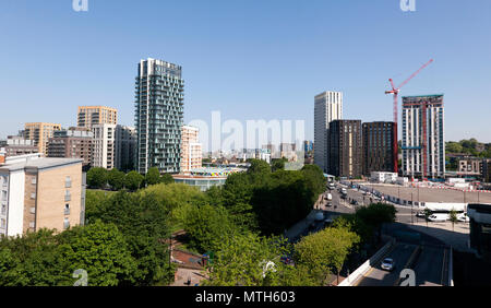 Panoramic view of the Loampit Vale development and the Lewisham Gatreway Project. on the site of the former roundabout on the A20 and A21, Lewisham - Stock Photo