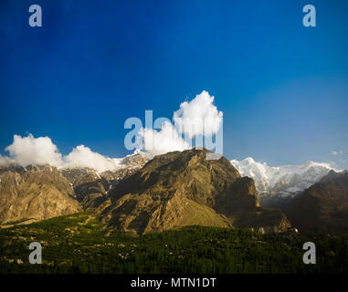 Panorama of Karimabad and Hunza valley Gilgit-Baltistan, Pakistan - Stock Photo