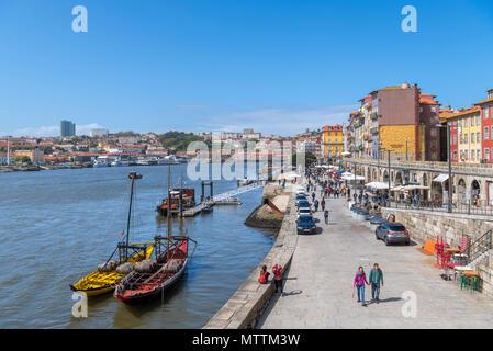 River Douro and the Cais da Ribeira, Porto, Portugal - Stock Photo