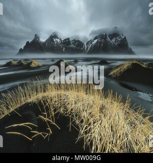 Vestrahorn mountain in winter, Stokksnes Peninsula, Iceland - Stock Photo