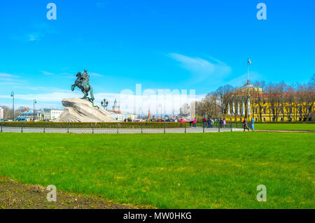 SAINT PETERSBURG, RUSSIA - APRIL 27, 2015: Equestrian monument to Peter the Great is the most known monument in the city mounted on huge rock, called  - Stock Photo