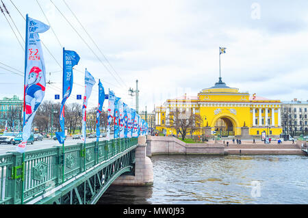 SAINT PETERSBURG, RUSSIA - APRIL 26, 2015: The Palace Bridge is one of the most beautiful bridges of the city, that neighbors with Winter Palace and A - Stock Photo