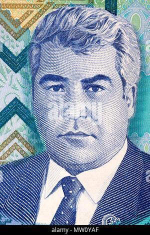 Saparmurat Niyazov portrait from Turkmenistan money - Stock Photo
