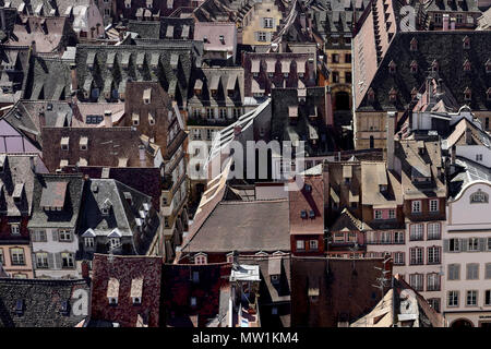 Roofs, Old Town, Strasbourg, France - Stock Photo