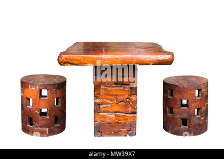 Wood chair and table  to creative for design and decoration isolate on background.Copy space on white background.Clipping path (Vintage tone) - Stock Photo